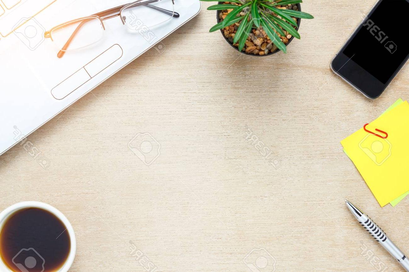 Accesorios De Escritorio Txdf Vista Superior Accesorios De Escritorio De La Oficina Del Telà Fono Mà Vil Tenga En Cuenta El Papel Cafà Cactus Portà Til En El Fondo De Madera