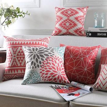 Almohadones Para sofa Thdr Fundas De Almohada Modernas Almohadones Geomà Tricos Funda De Cojà N Floral Rojo Para El Hogar