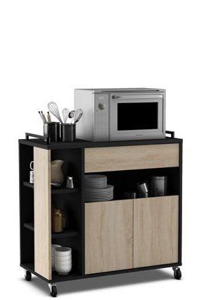 Amazon Muebles De Cocina Irdz Mueble De Cocina Auxiliar Para Microondas En Color Negro Y Roble