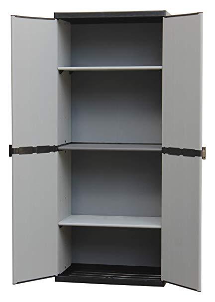Armario Resina Exterior Fmdf Adventa Armario De Resina Con Estantes De 2 Puertas Interior Exterior Gris Negro 68 X 39 5 X 168 Cm