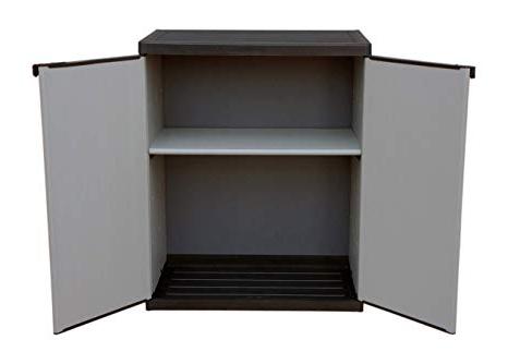 Armario Resina Exterior Mndw Adventa Armario Bajo De Resina Con Estantes De 2 Puertas Interior Exterior Gris Negro 68 X 39 5 X 85 Cm
