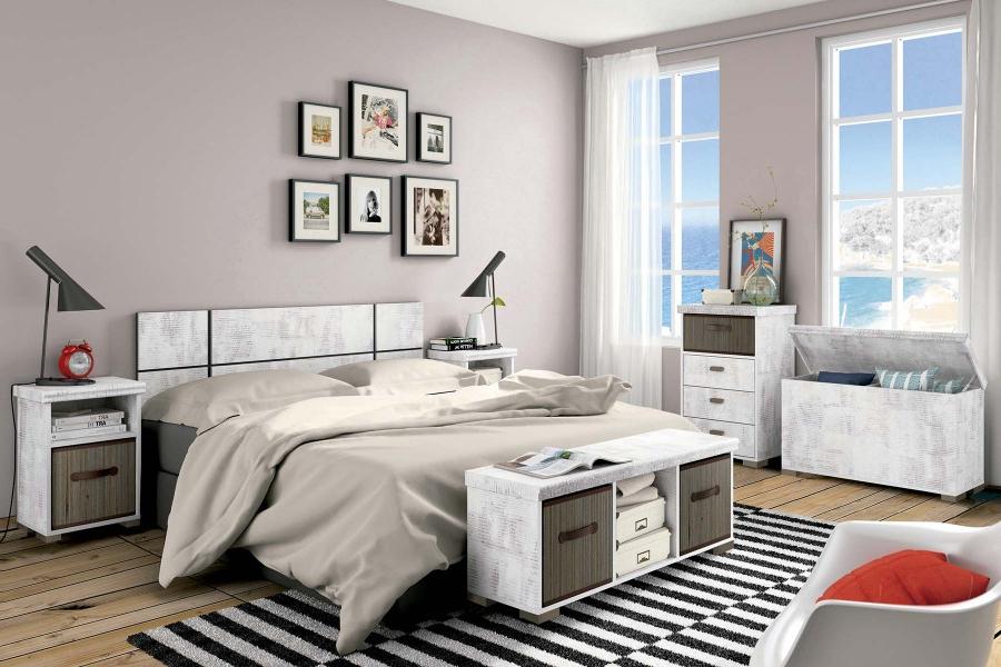 Banco Dormitorio Q5df Conjunto Dormitorio Modelo Tundra Blanco Envejecido