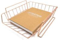 Bandeja Escritorio Q5df 36 0 Gran Rosa oro Oficina Escuela Suministros Escritorio Accesorios organizador Archivo Bandeja Malla Alambre Metal Documento Bandeja Apilable