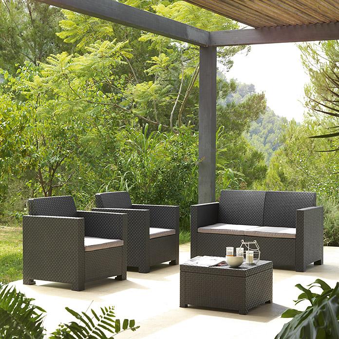 Bauhaus Mesas Jardin Dddy Set De Muebles De Jardà N Evo Antracita 8303 Null Icdg Null
