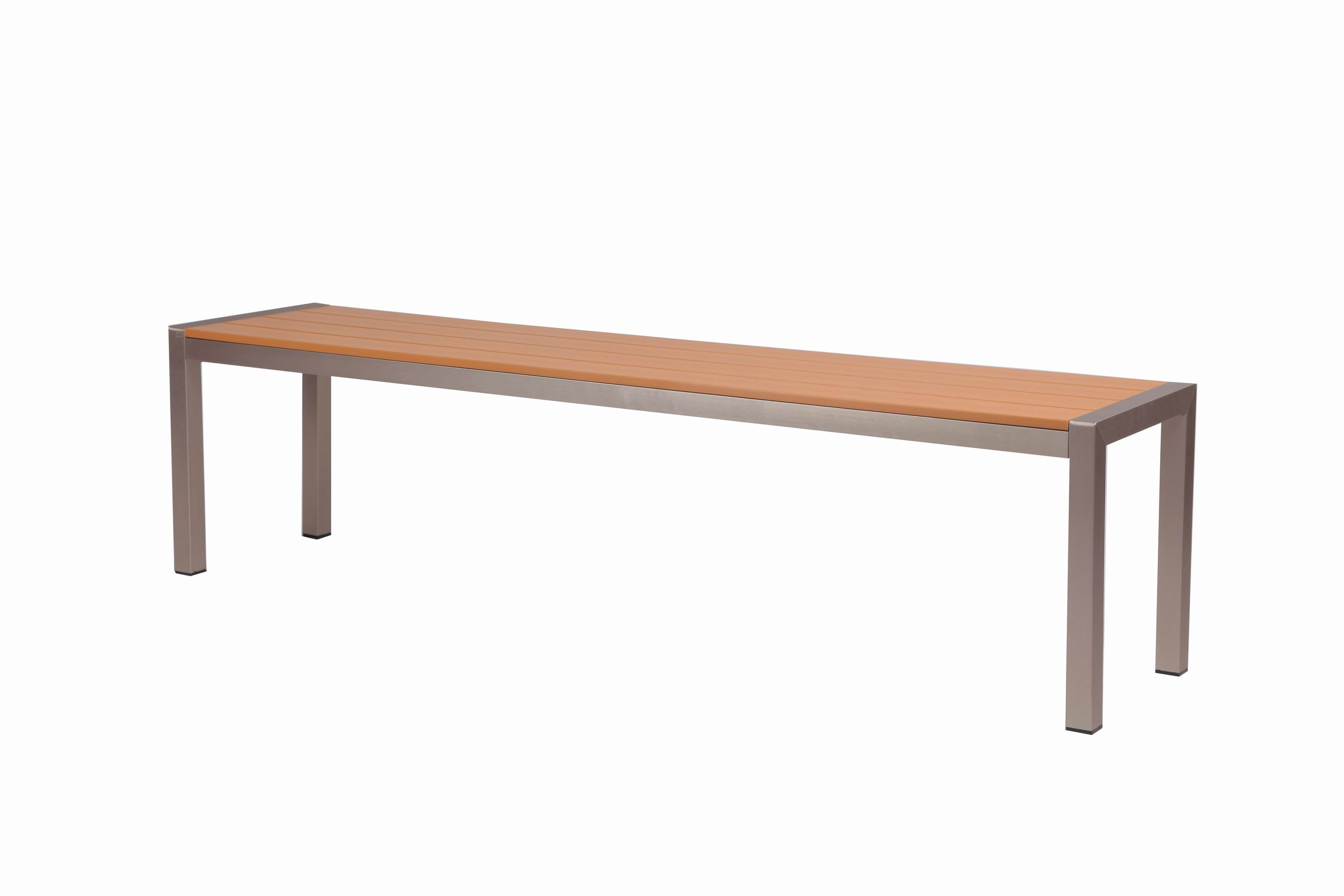 Bench Restaurant Qwdq Tan Synthetic Wood Aluminum Restaurant Bench 16 X 46