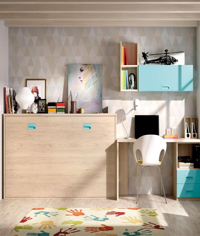 Cama Abatible Con Escritorio Ipdd Dormitorio Juvenil Cama Abatible Escritorio Y Estantes Ref Yc45