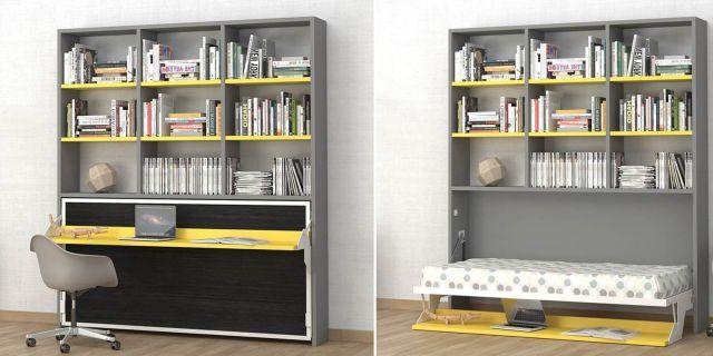 Cama Abatible Con Escritorio Tqd3 Prar Cama Abatible Horizontal Escritorio Libreria Cama 90 X 190