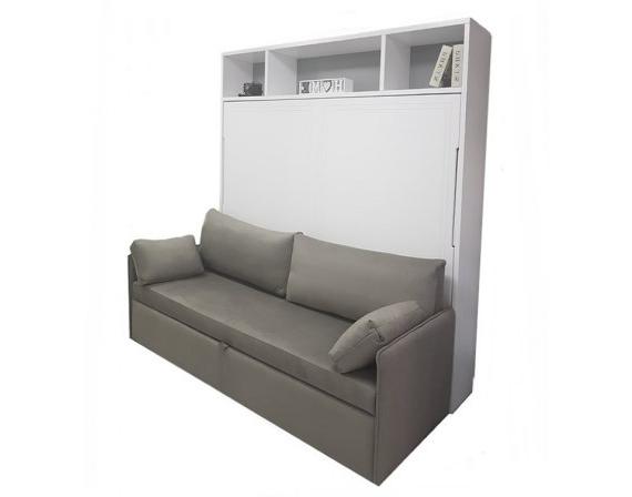 Cama Abatible Horizontal Con sofa Y7du Cama Abatible Horizontal De Matrimonio Lacada Con sofà Incorporado