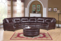 Centro sofa Mndw Shop Centro Chocolate Brown Curved top Grain Leather Sectional sofa