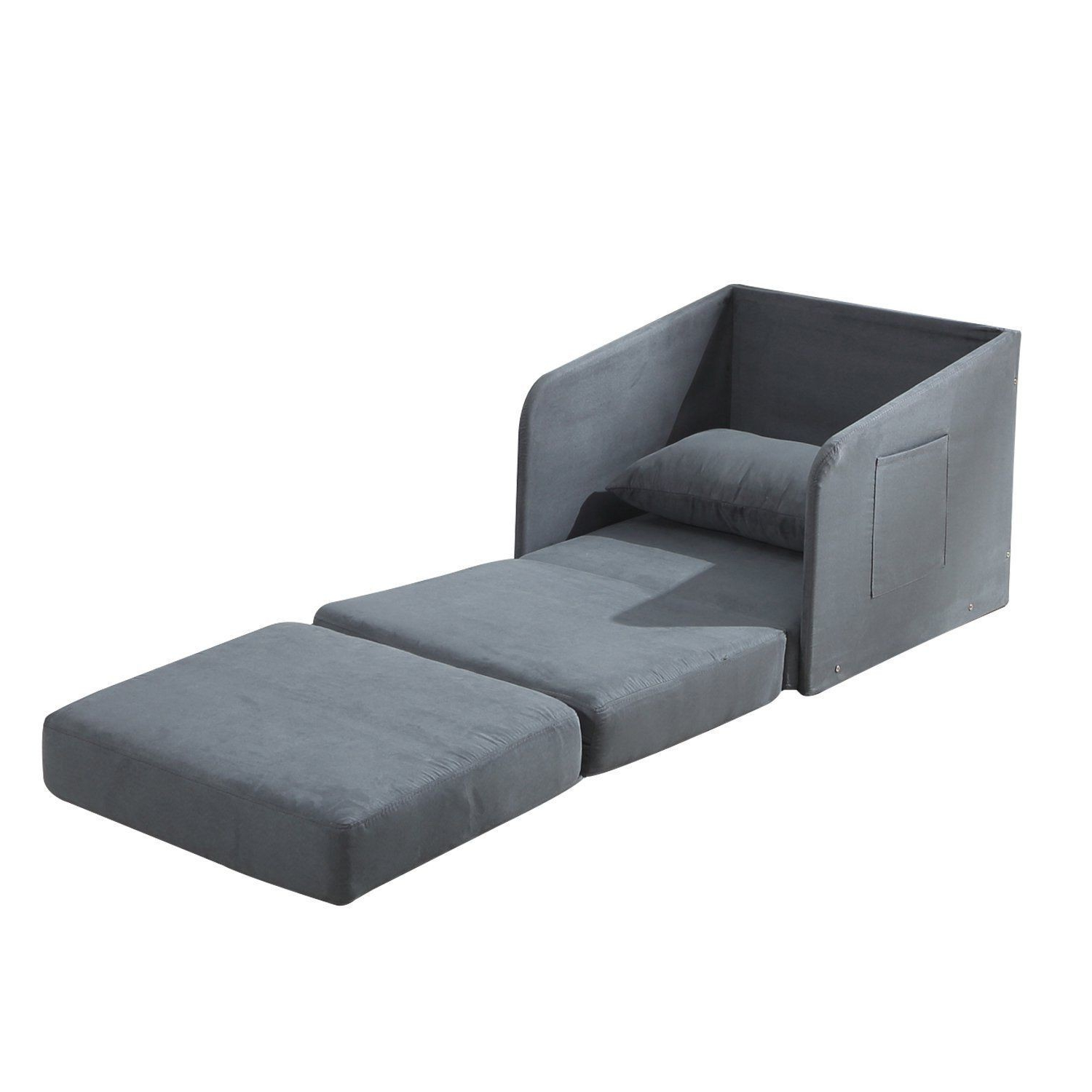 Chair Bed 3ldq Hom Faux Suede Single sofa Bed W Pillow Grey Aosom