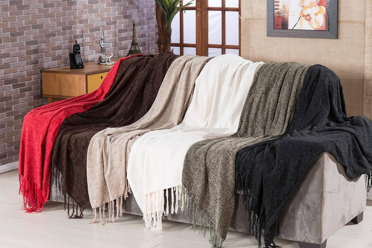 Colcha Para sofa Wddj Manta Para sofà Sevilha Chenille 120x180cm Preto Borda R 96 90 Em