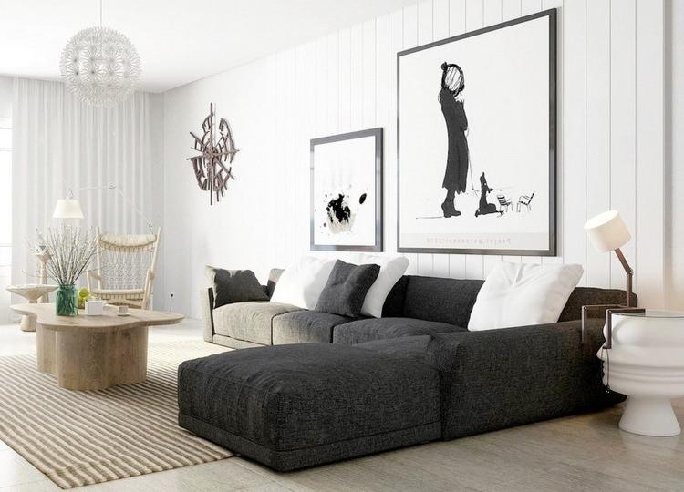 Combinar sofa Gris Oscuro Nkde sofà S Energà A Oscura En El Salà N Moderno