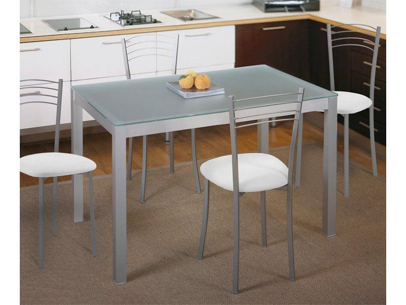 Comprar Mesa De Cocina J7do Mesa Fija De Cocina Metà Lica De Aluminio Y Cristal Traslúcido