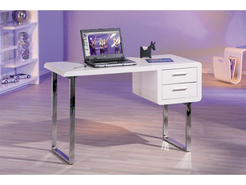Comprar Mesa Escritorio H9d9 Escritorio Para ordenador Mesita De Color Blanco Con Patas Cromadas