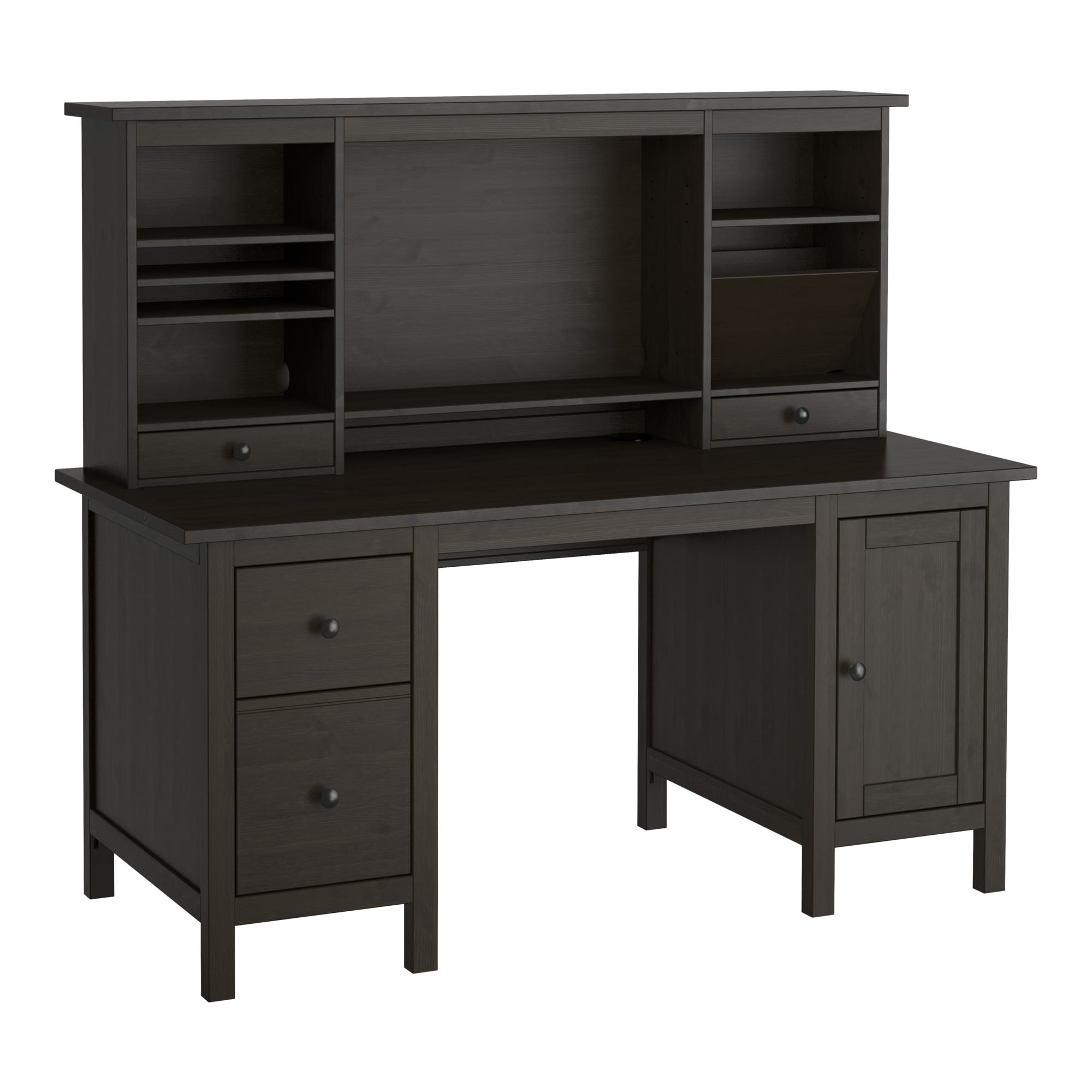 Computer Desk Q5df Hemnes Desk with Add On Unit Black Brown 155 X 137 Cm Ikea