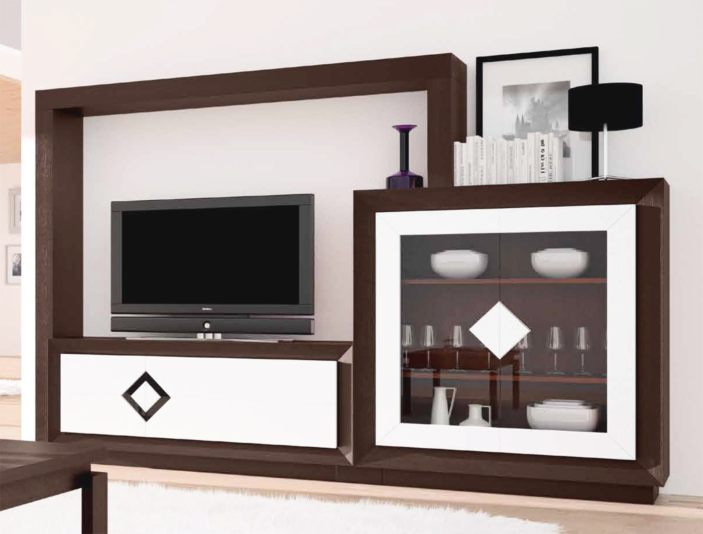 Conjunto Muebles Salon Budm Muebles Para Salà N Con Vitrina Vajillero Y Mueble Televisià N Madera