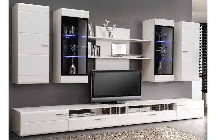 Conjunto Muebles Salon S5d8 Conjunto Muebles De Salon En Blanco Y Luces Led Sala Living Room