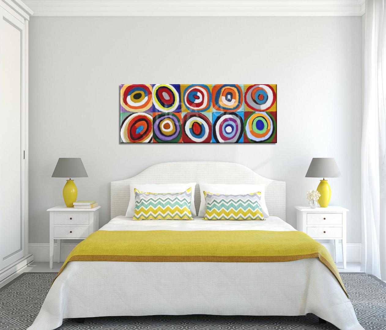 Cuadros De Cabecera De Cama D0dg Cuadros Abstractos Cabecero CÃ Rculos Colores Kandinsky Dormitorios