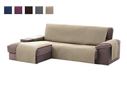 Cubre sofa Chaise Longue Budm Textil Home Funda Cubre sofà Chaise Longue Adele Protector Para sofà S Acolchado Brazo Derecho Tamaà O 240cm Color Beig Visto De Frente
