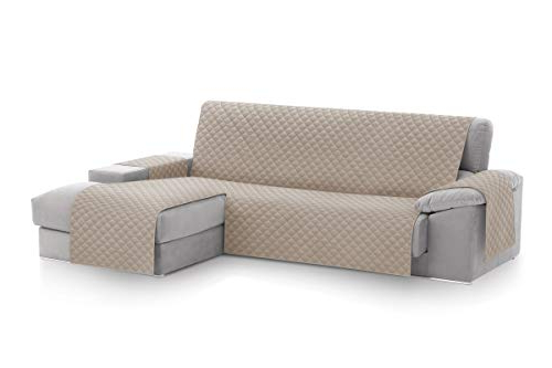 Cubre sofa Chaise Longue Xtd6 Textil Home Funda Cubre sofà Chaise Longue Malu Protector Para sofà S Acolchado Brazo Derecho Tamaà O 240cm Color Beige Visto De Frente