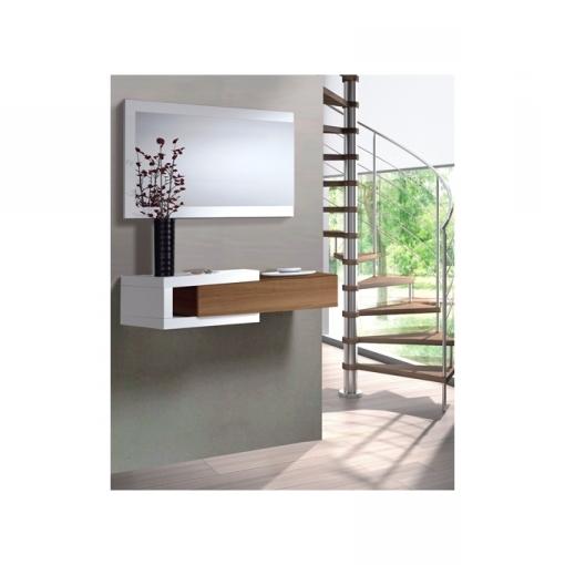 El Mueble Recibidores Fmdf Mueble De Recibidor Con Espejo Color Blanco Y Madera Las