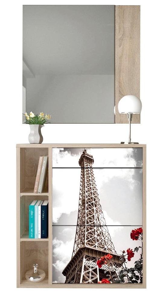 El Mueble Recibidores Mndw Mueble Recibidor Con Espejo Y Zapatero Wood Multicolor Conforama