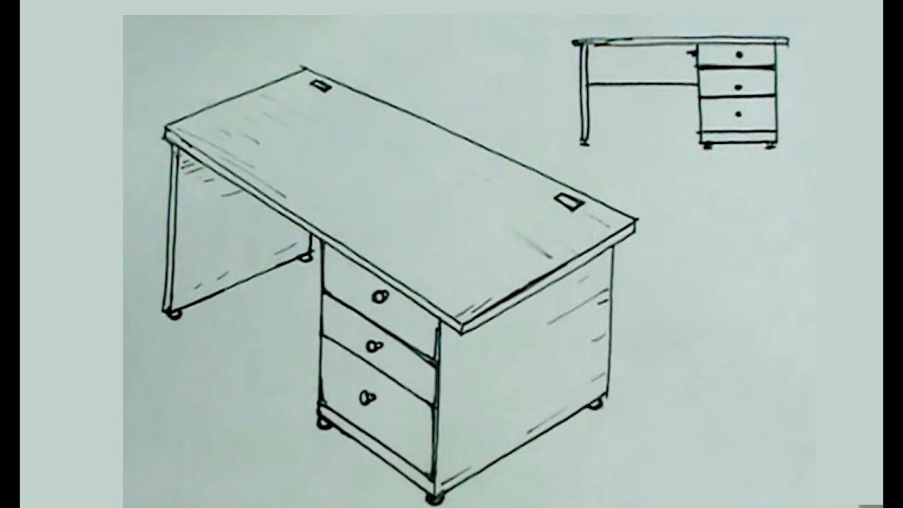 Escritorio Dibujo Drdp CÃ Mo Dibujar FÃ Cil Un Escritorio De Oficina O Mesa Desk Drawing
