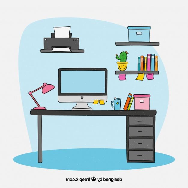 Escritorio Dibujo E6d5 Escritorio Moderno Con Estilo De Dibujo A Mano Descargar Vectores
