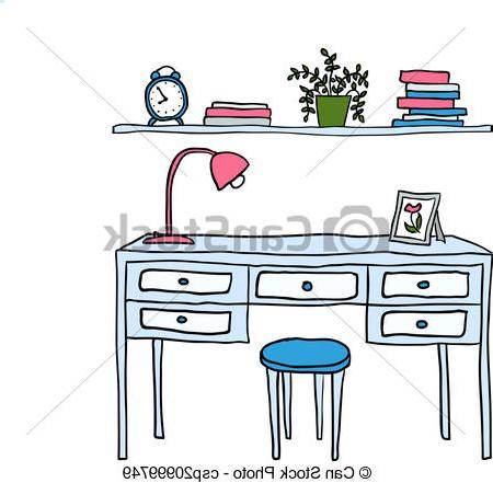 Escritorio Dibujo Gdd0 Ilustrado Estante Vector Libros Escritorio Reloj Estante
