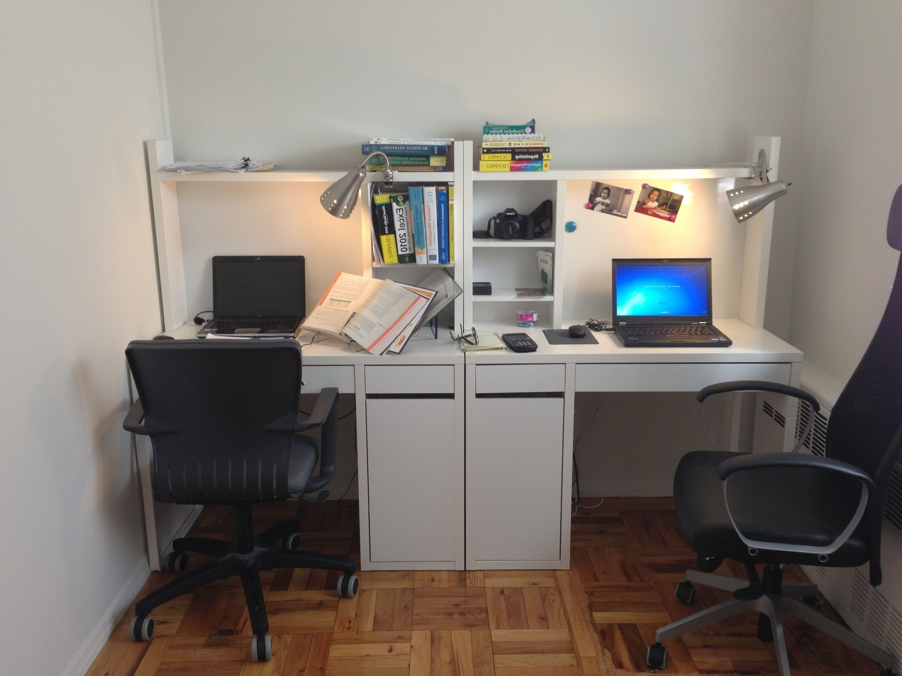 Escritorio Micke Bqdd Two Micke Work Stations From Ikea and Clip On Desk Lights From Home