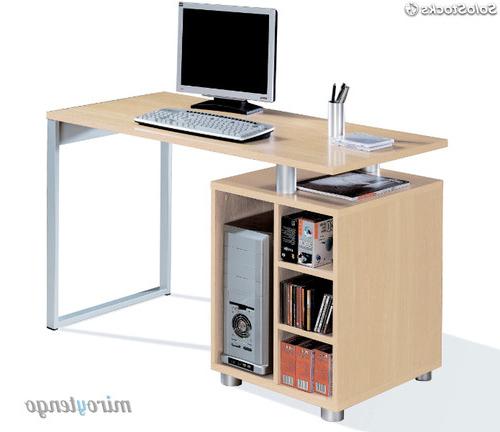 Escritorio ordenador 8ydm Mesa De ordenador Escritorio Color Haya Con Cajonera Y Pata Metalica