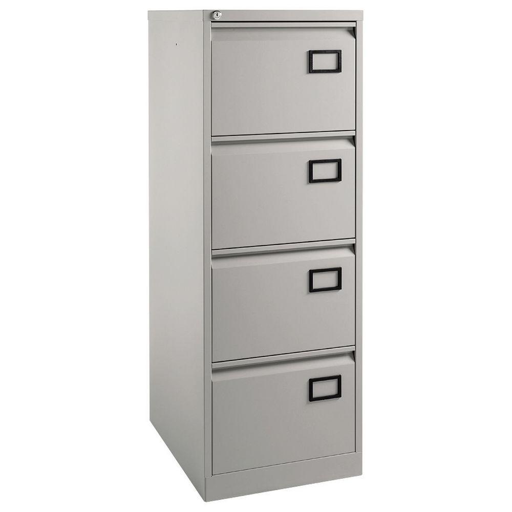 Filing Cabinets Ftd8 Bisley 4 Drawer Value Foolscap Filing Cabinet Grey StaplesÂ