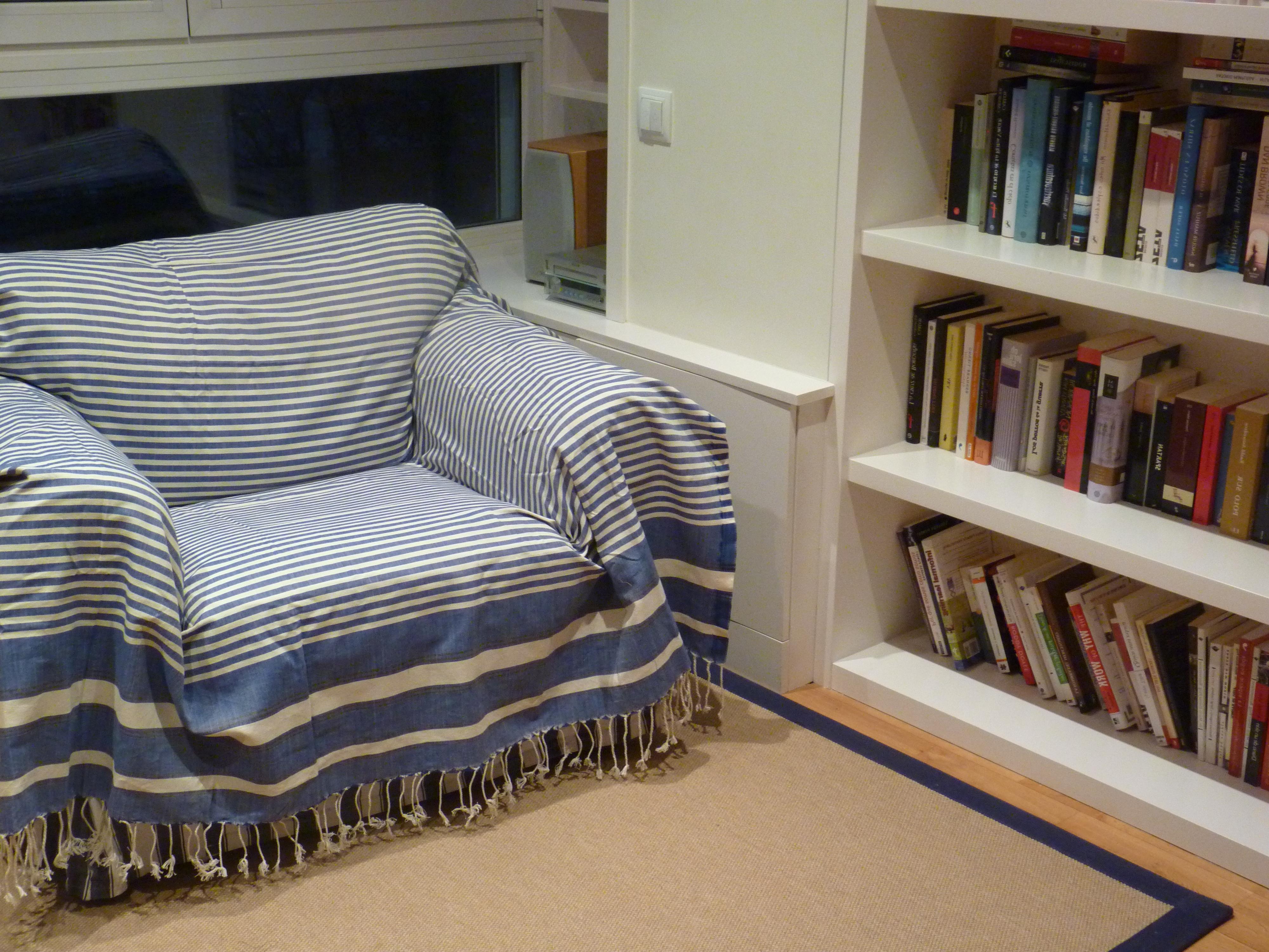 Foulard Cubre sofa J7do Fular sofà Fouta Maxi Azul Oscuro Myfouta
