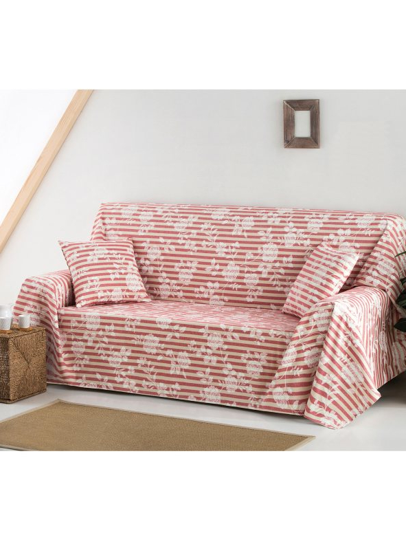 Foulard sofa 9fdy Foulard Protects sofa Stamped with Flowers and Stripes Ruby Venca