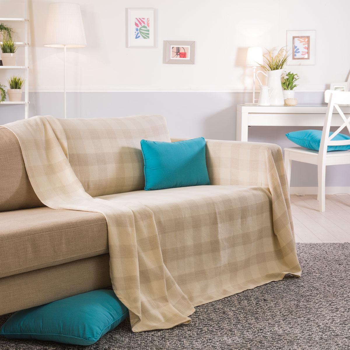 Foulard sofa Fmdf Foulard Cubresofa A Cuadros tostado Cama Individual Matrimonio sofa