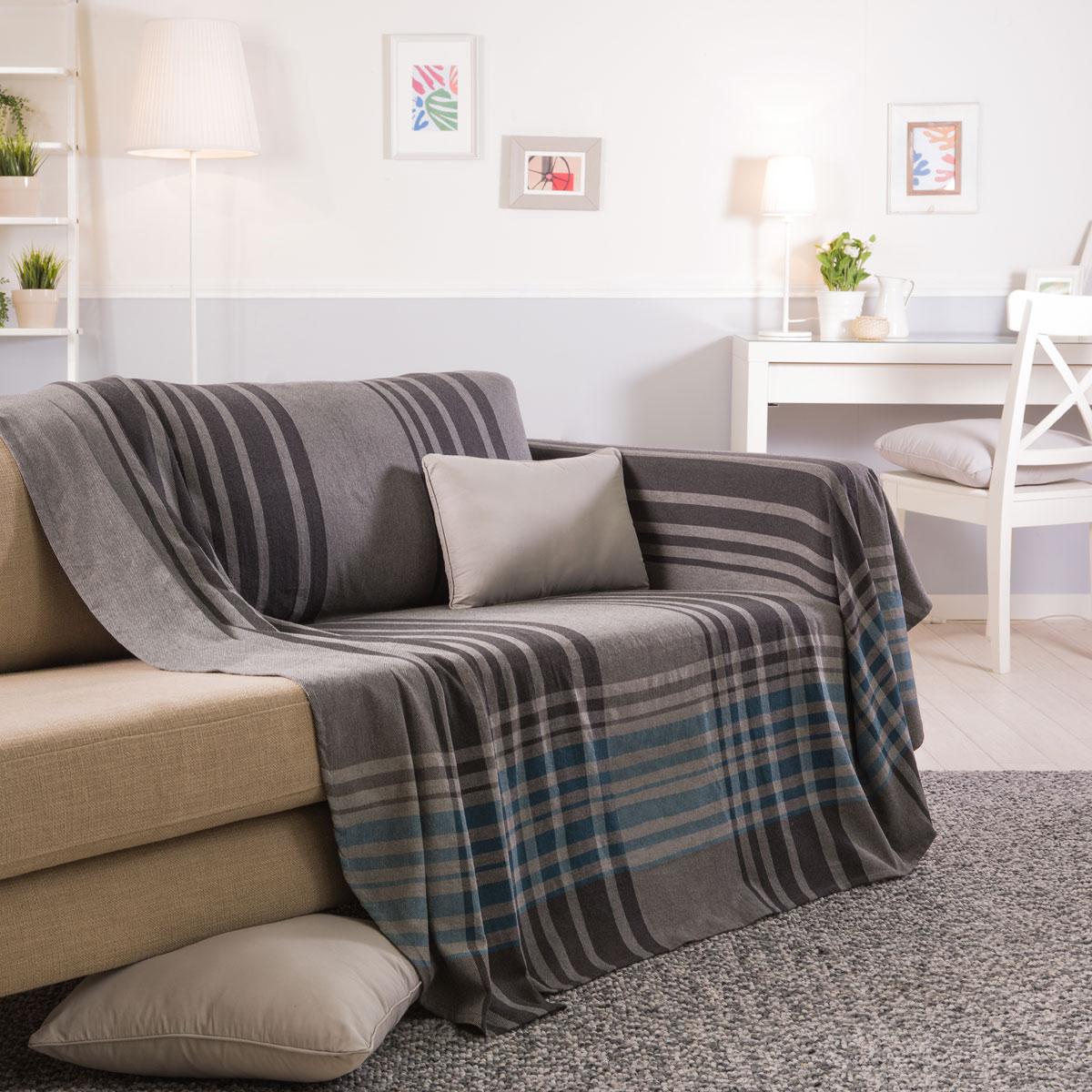 Foulard sofa Rldj Prar Foulard Multiusos A Rayas Azul Gris Barato Foulard