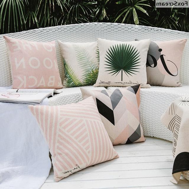 Fundas Para Cojines De sofa H9d9 Tropical Almohadas Decorativas Rosa Geomà Trica sofà Cojines