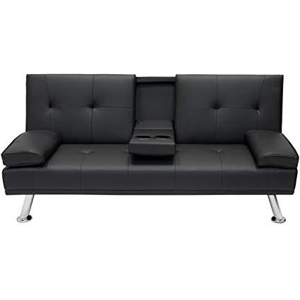 Futon sofa Cama Dddy Best Choice Products Modern Faux Leather Convertible