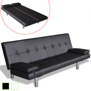 Futon sofa Cama Dwdk Artificial Leather Convertible sofa Bed Futon Couch Black White Ebay