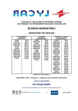 Horario Autobuses Murcia Cartagena Fmdf Horario Autobuses Cartagena Murcia Y Viceversa