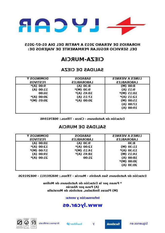 Horario Autobuses Murcia Cartagena Q5df Horario Autobuses Cieza Murcia
