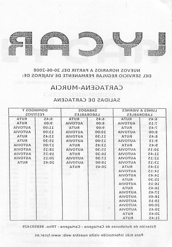 Horario Autobuses Murcia Cartagena Whdr Desmitificador Horario De Los Autobuses Cartagena Murcia Para El