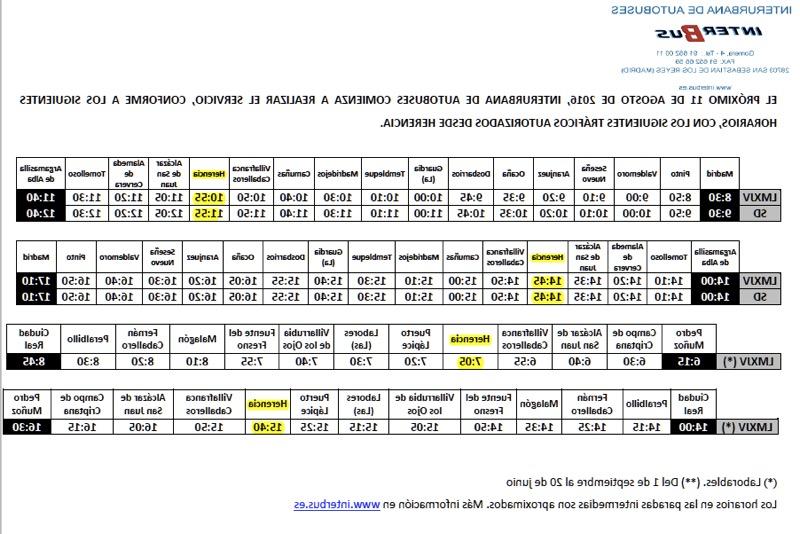 Horario Madrid Irdz Nuevo Horario Y Servicio De Autobuses Entre Herencia Madrid Y