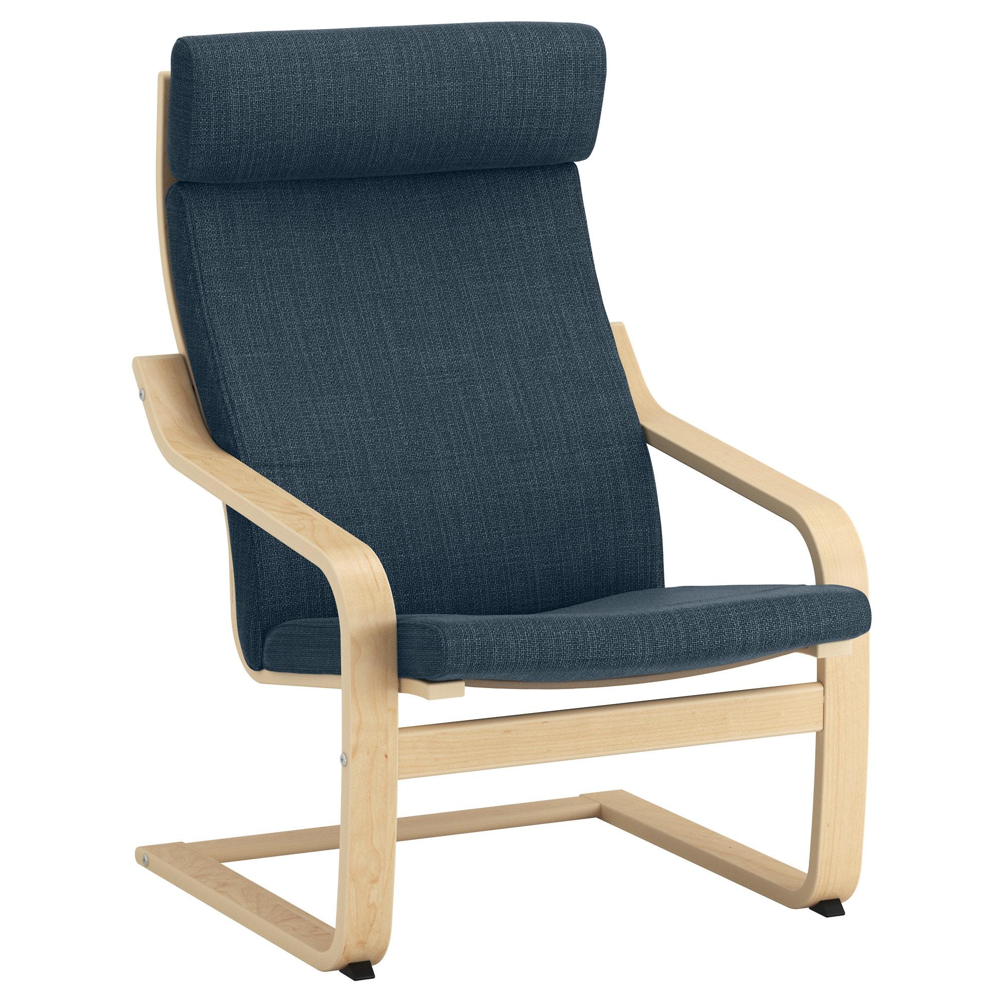 Ikea Chairs Tqd3 Poà Ng Armchair Birch Veneer Hillared Dark Blue Ikea