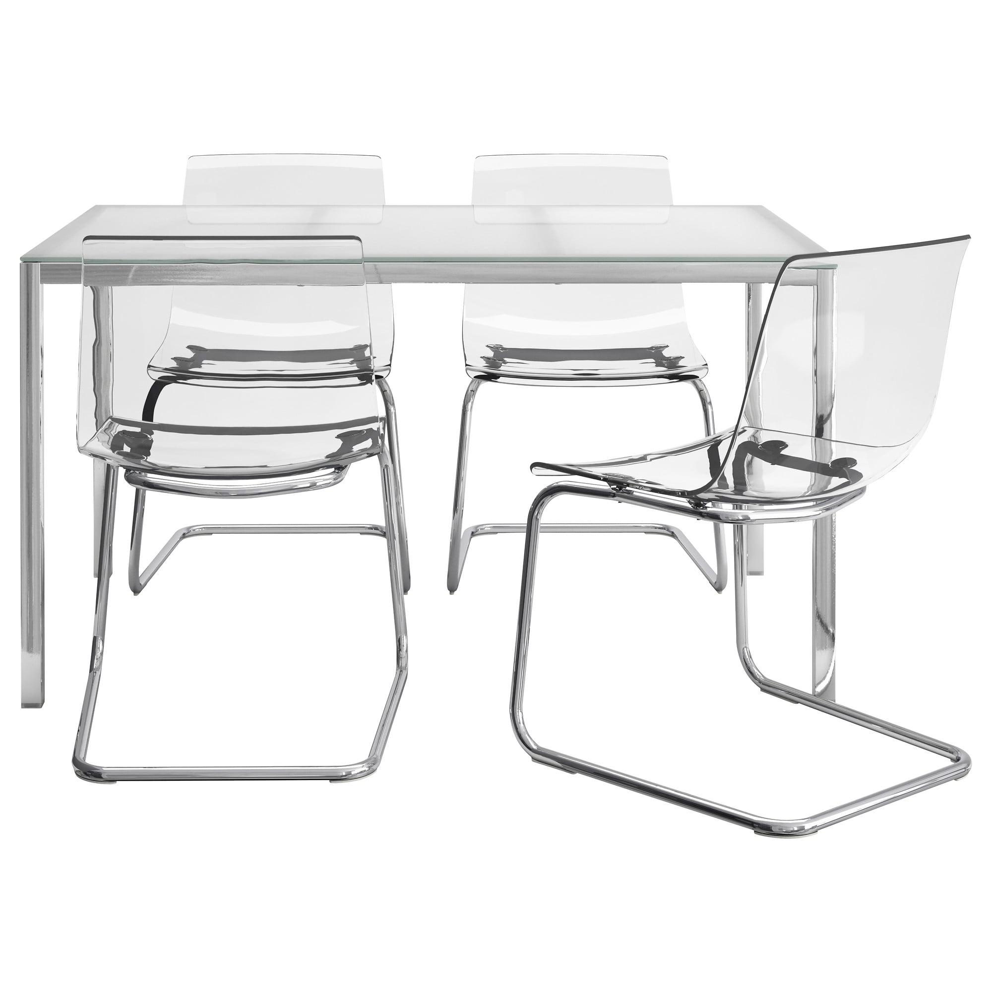 Ikea Mesa Cristal Jxdu torsby tobias Mesa Con 4 Sillas Vidrio Blanco Transparente 135 Cm Ikea