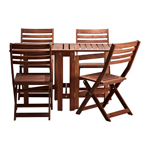 Ikea Mesa Terraza Kvdd à Pplarà Table and 4 Folding Chairs Outdoor Brown Brown Stained