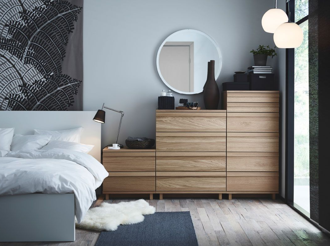 Ikea Muebles Habitacion Kvdd A Bedroom with Oppland Chest Of Drawers In Oak A Malm Bed In White