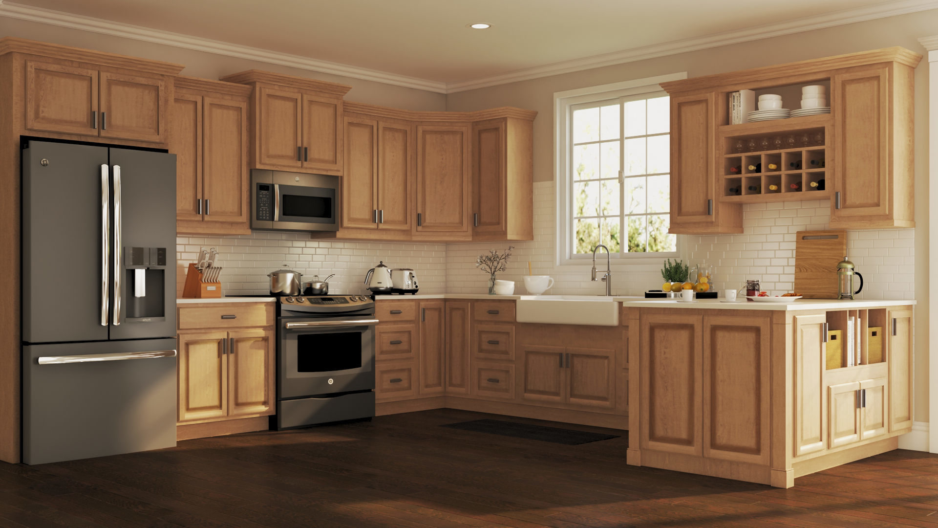 Kitchen Cabinets Ftd8 Hampton Wall Kitchen Cabinets In Medium Oak Kitchen the Home Depot