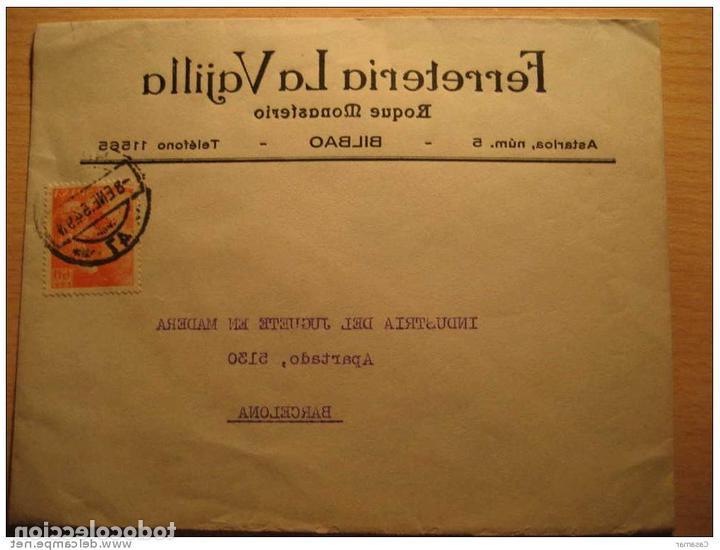 La Vajilla Bilbao Irdz Bilbao Euzkadi Pais Vasco 1954 Sello Franco 60 Prar Historia