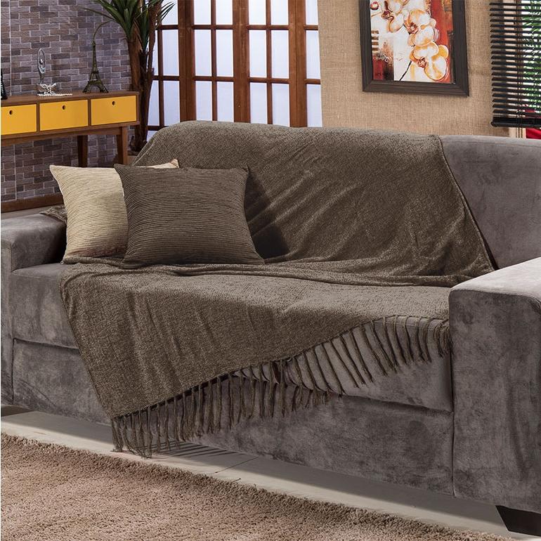 Manta sofa Q5df Manta Para sofa Sevilha Chenille 120x180cm Marrom Fastlar
